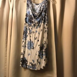 Sisley cream floral cowl neck dress size S